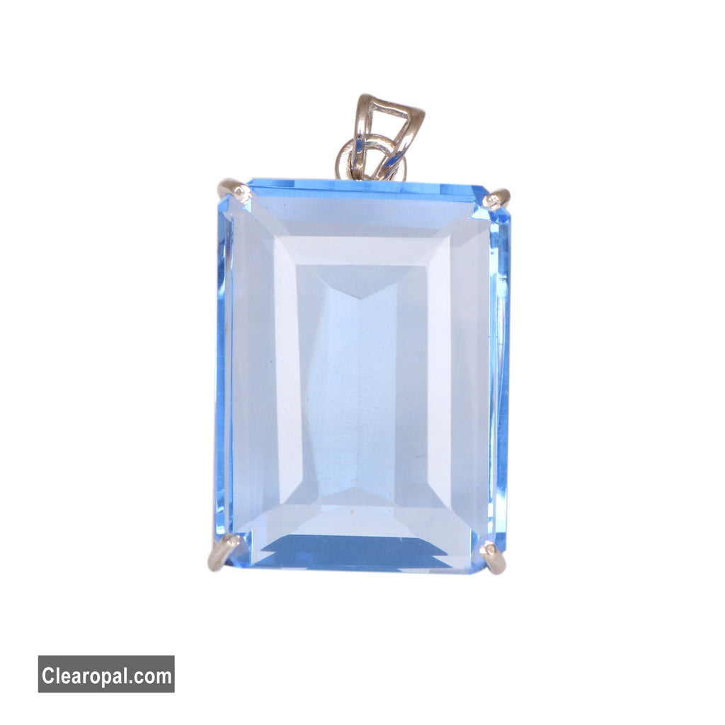 Beautiful Blue Topaz Loose Gemstone Pendant/Necklace, 925 Sterling Silver Pendant, December Birthstone