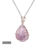 Pear Fancy Cut Top Quality Violet Amethyst Pendant In 925 Sterling Silver for women