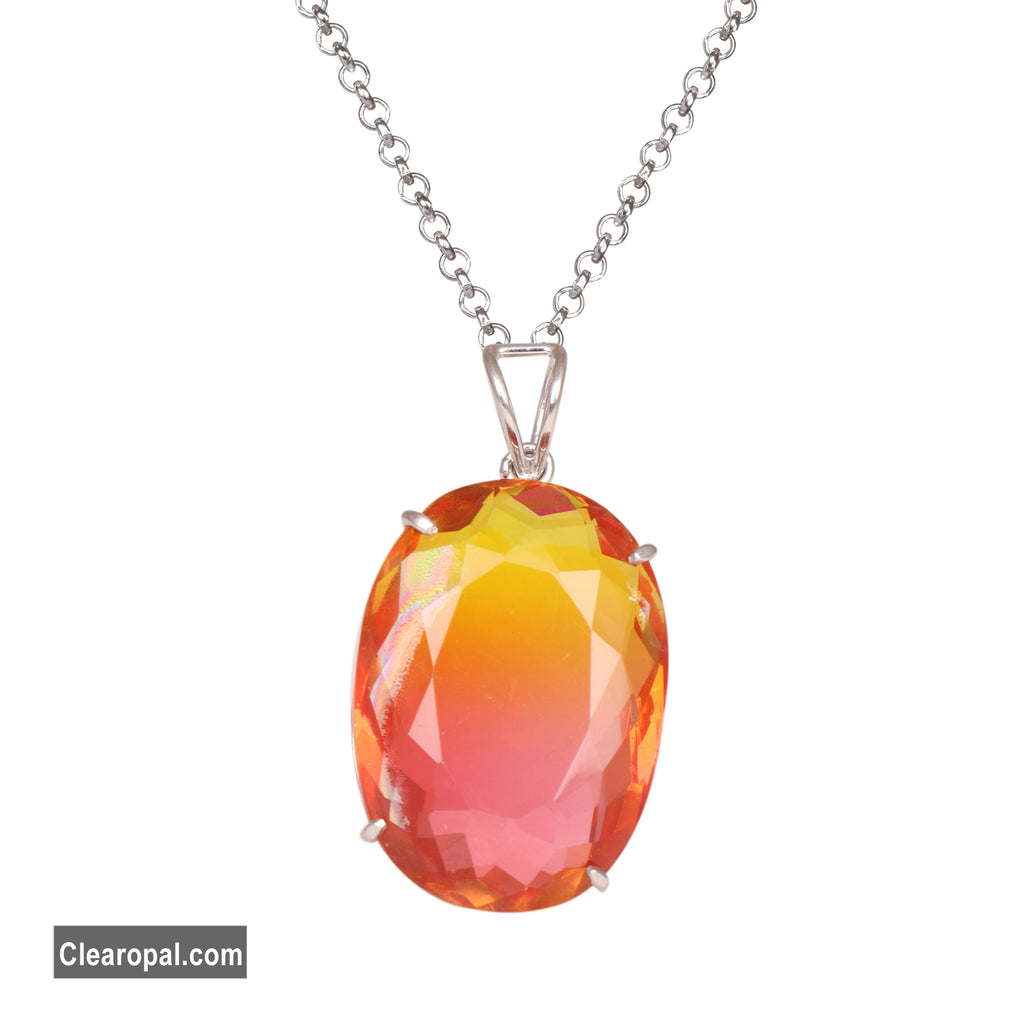 Brazilian oval cut ametrine pendant, Multi color ametrine necklace, 925 sterling silver pendant necklace for women