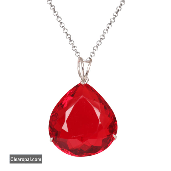 Pear Cut Red topaz 925 sterling silver pendant, Pear cut Red topaz pendant necklace, gift for her