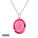 Oval Cut Light Pink Tourmaline Pendant Necklace, 925 Sterling Silver Pendant Necklace, Jewelry For Girls