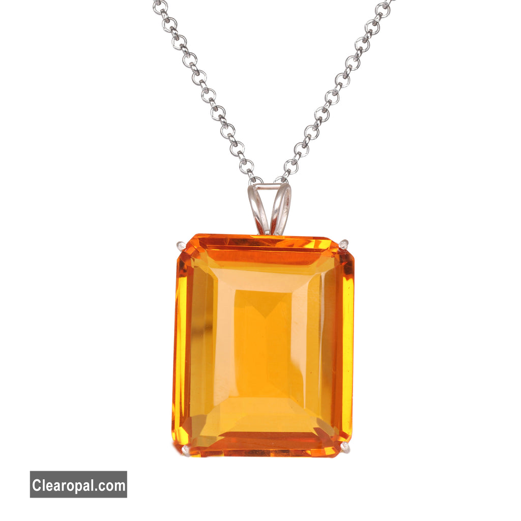 Emerald Cut Yellow Citrine Pendant Necklace, 925 Sterling Silver Pendant, Faceted Emerald Cut Gemstone Pendant,