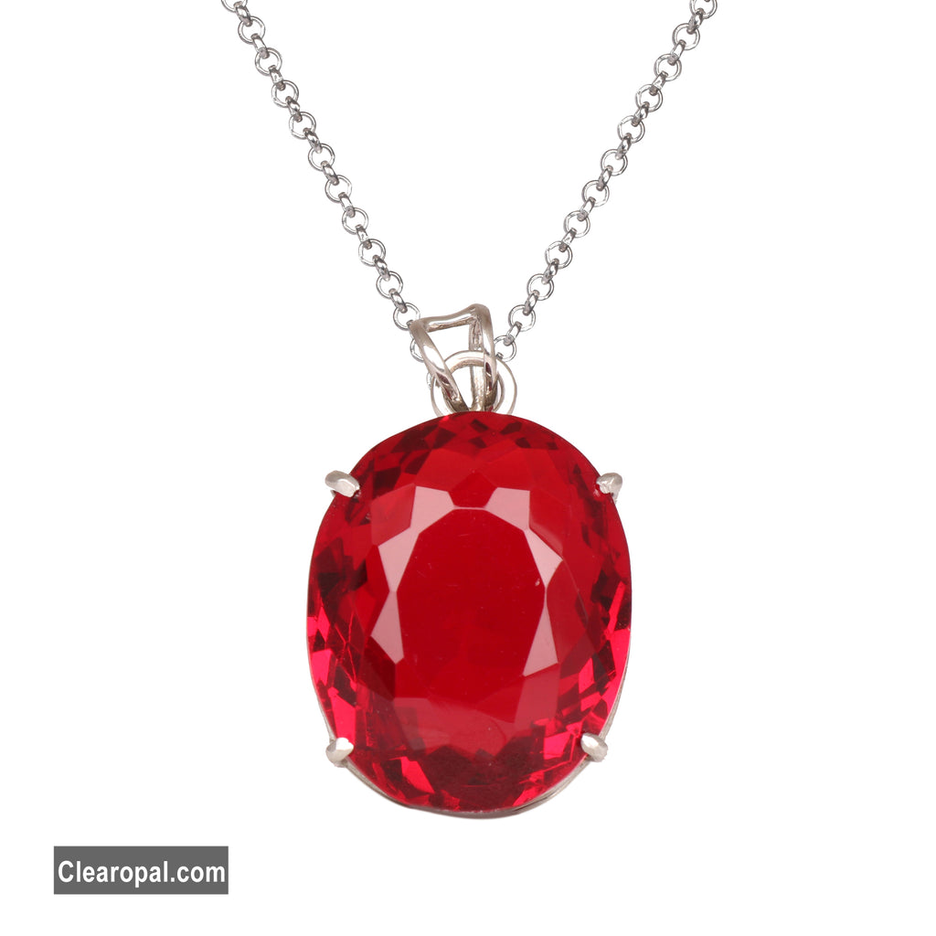 Oval Cut Beautiful Red Topaz 925 Sterling Silver Pendant, Oval Cut Red Topaz Pendant Necklace, November birthstone