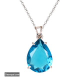 Brazilian Swiss Blue topaz 925 sterling silver pendant, brilliant pear cut blue topaz pendant necklace, gift for her