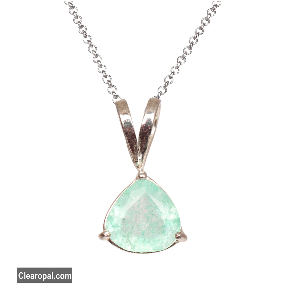 Natural Colombian Green Emerald Pear Cut Gemstone Women's Pendant, Handmade Jewelry, 925 Solid Sterling Silver Gifts Jewellery