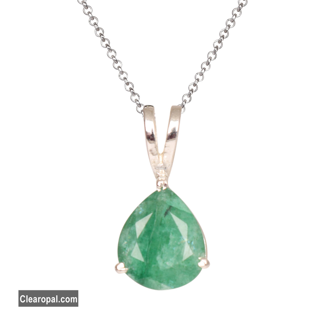 Brilliant Pear Cut Natural Green Emerald Gemstone Women's Pendant Necklace, Handmade Jewelry, 925 Solid Sterling Silver, May Birthstone