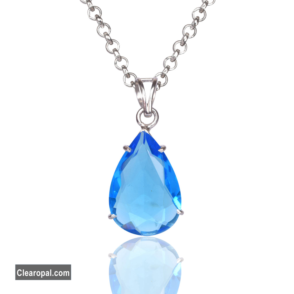 Swiss Blue Topaz Loose Gemstone, 925 Sterling Silver Necklace Pendant, December Birthstone Gift For Her