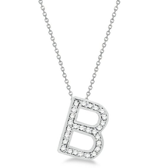 0.70 to 1 Inch Fashion 925 Sterling Silver Pendant Initial Charm B Letter Alphabet Pendant