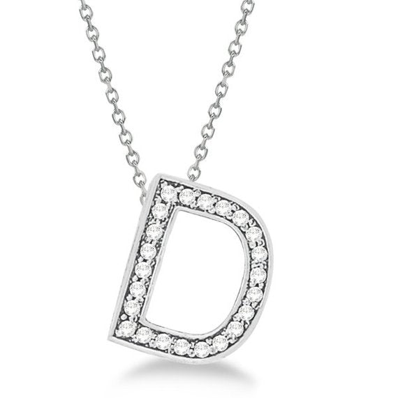 0.80 to 1.50 925 Sterling Silver Alphabet Letter D CZ initial Charm Pendant For Men & Women