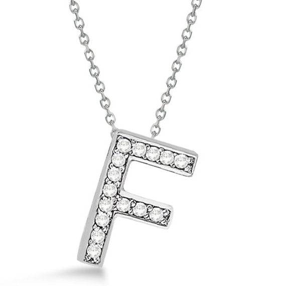 Initial F' Letter Alphabet Pendant With Chain For Men & Women 0.70 to 1 Inch  Silver Alphabet Pendant In 925 Sterling Silver