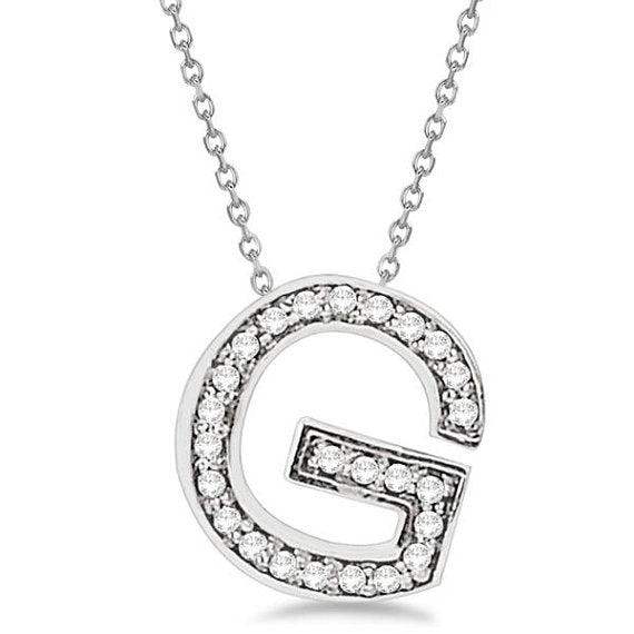 0.70 to 1 Inch 925 Sterling Silver Alphabet Letter G CZ initial Charm Pendant For Men & Women
