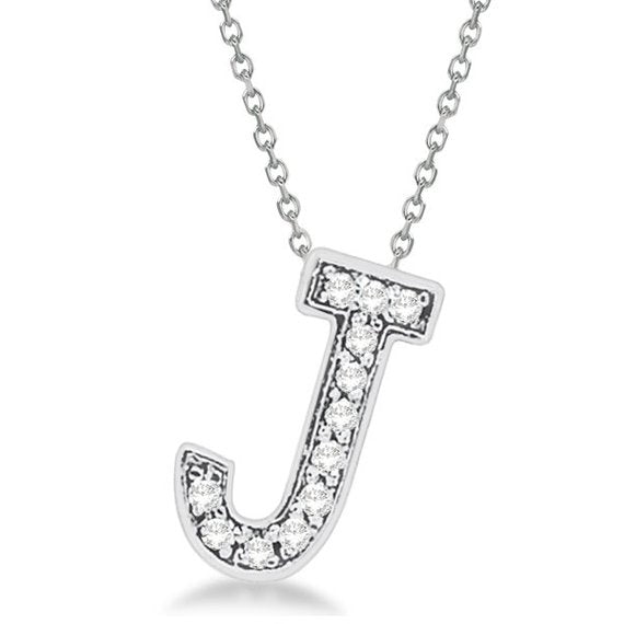0.70 to 1 Inch 925 Sterling Silver CZ initial Charm Alphabet Pendant, Inch Letter J Pendant Available in Other Letters