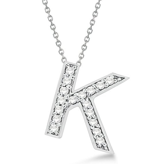 Initial K Letter Alphabet Pendant With Chain For Men & Women, 925 Sterling Silver K Alphabet Pendant, 0.70 to 1 Inch