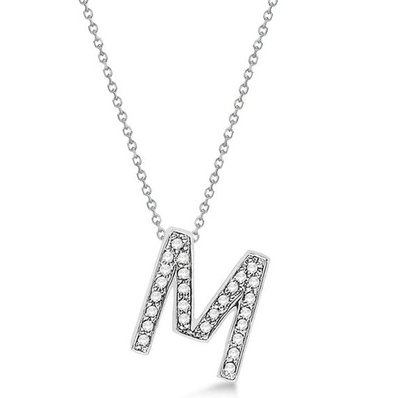 0.70 to 1 Inch Fashion 925 Sterling Silver Pendant Initial Charm M Letter Alphabet Pendant  For Men & Women