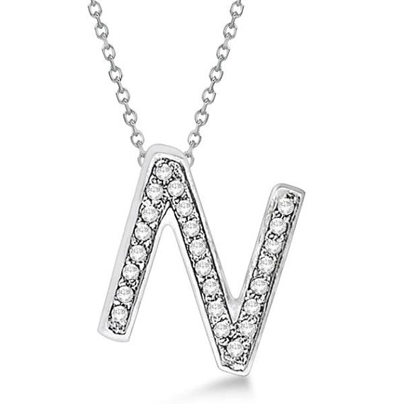 0.75 to 1 Inch Initial N Letter Alphabet Pendant With Chain, 925 Sterling Silver K Alphabet Pendant For Men & Women