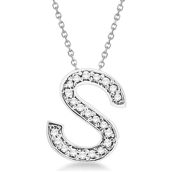 Initial 'S' Letter Alphabet Pendant With Chain For Men & Women, Silver Alphabet Pendant In 925 Sterling Silver 0.80 to 1.20 Inch