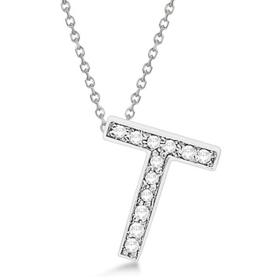 925 Sterling Silver Alphabet Letter 'T' CZ initial Charm Pendant For Men & Women, 1.70 to 2 Inch
