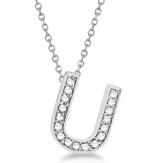 0.80 to 2 Inch Fashion 925 Sterling Silver Pendant Initial Charm 'U' Letter Alphabet Pendant For Men & Women