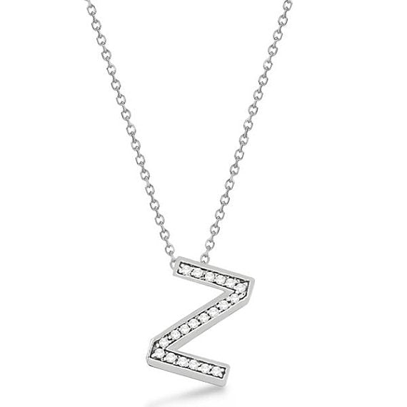 0.70 to 1 Inch 925 Sterling Silver CZ initial Charm Alphabet Pendant, Inch Letter 'Z' Pendant Available in Other Letters