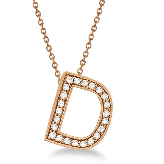 Alphabet 'D' Letter Pendant Necklace For Men & Women 1.70 to 2 Inch Real Rose Gold Pendant