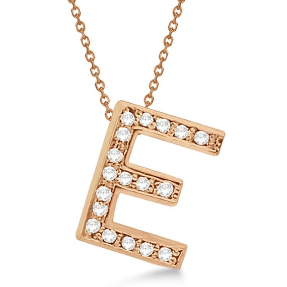 0.80 to 1.20 Inch CZ Initial 'E' Pendant Necklace with Personalized Alphabet Letter Name charm