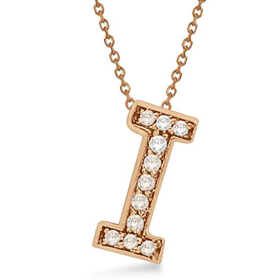 Initial 'I' Letter Alphabet Pendant With Chain For Men & Women, Alphabet Pendant In Rose Gold 0.80 to 1.20 Inch