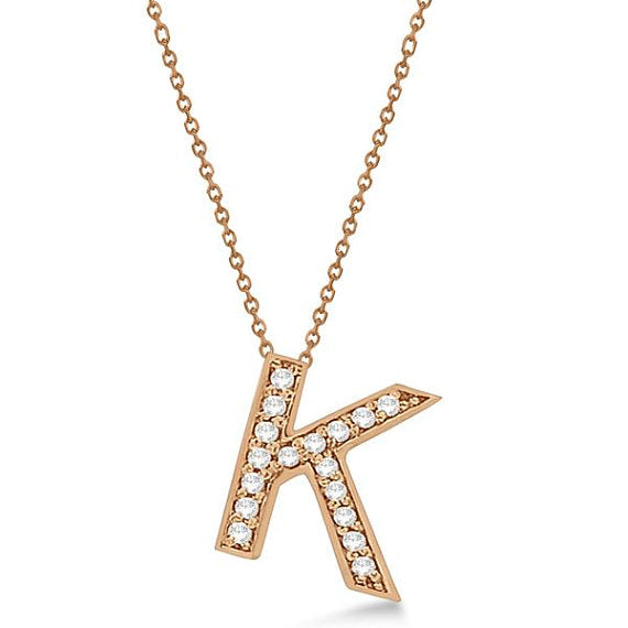 0.80 to 1.20 Inch Letter K Alphabet Initial Charms & Pendants Letter Rose Gold Alphabet Gift For Women/Men