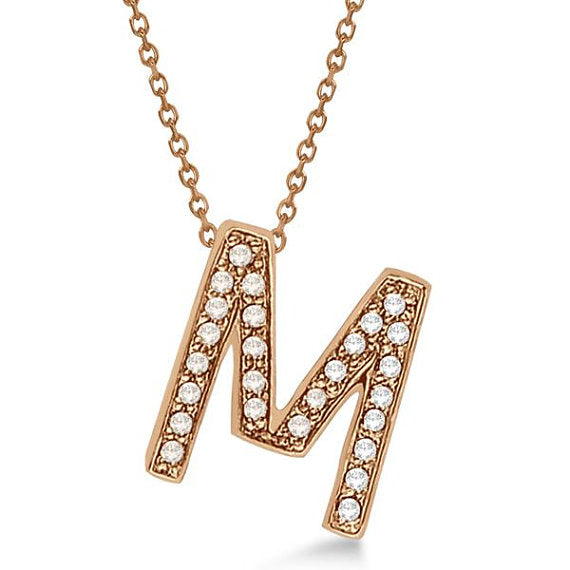 Alphabet 'M' Letter Pendant Necklace For Men & Women 1.70 to 2 Inch Real Rose Gold Pendant