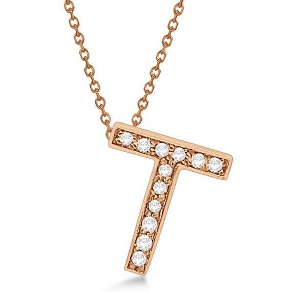 Alphabet 'T' Letter Pendant Necklace For Men & Women 1.70 to 2 Inch Real Rose Gold Pendant