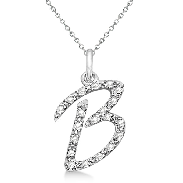 0.70 to 1 Inch 925 Sterling Silver CZ Fancy initial Charm Alphabet Pendant, Letter B Pendant Available in Other Letters