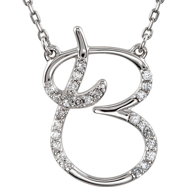 0.70 to 1 Inch Fashion 925 Sterling Silver Pendant Initial Charm Letter Cursive B Alphabet Pendant