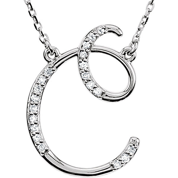 Initial 'C' Letter Cursive Alphabet Pendant With Chain For Men & Women, Silver Alphabet Pendant In 925 Sterling Silver, 0.75 to 1.5 Inch
