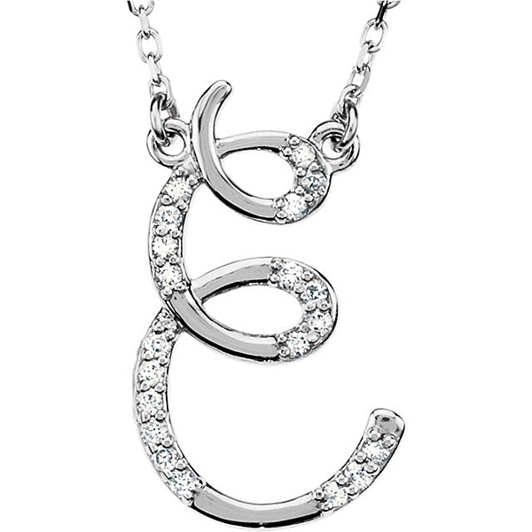 925 Sterling Silver CZ Cursive initial Charm Alphabet Pendant, 1.20 to 2 Inch Letter E Pendant Available in Other Letters