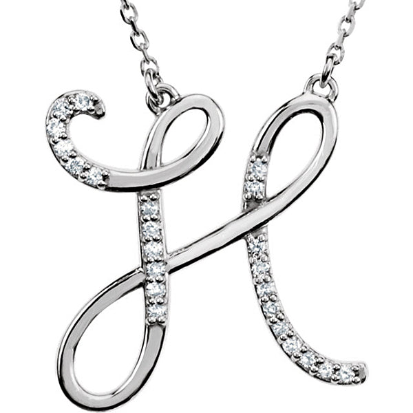 0.70 to 1 Inch Fashion 925 Sterling Silver Pendant Initial Charm H Letter Cursive Alphabet Pendant  For Men & Women