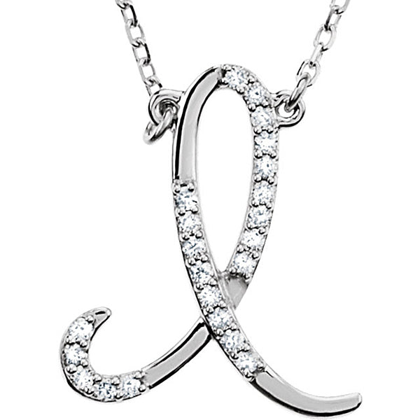 925 Sterling Silver Alphabet Letter I Cursive CZ initial Charm Pendant For Men & Womens, Chain Sizes-0.70 to 1 Inch
