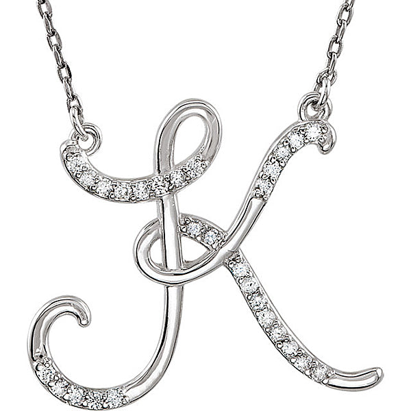 Initial K Letter Cursive Alphabet Pendant With Chain For Men & Women, 925 Sterling Silver K Alphabet Pendant, 0.70 to 1 Inch