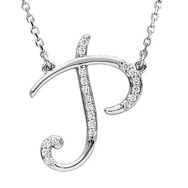 Initial P Letter Cursive Alphabet Pendant With Chain For Men & Women, 925 Sterling Silver Alphabet Pendant, 0.70 to 1 Inch