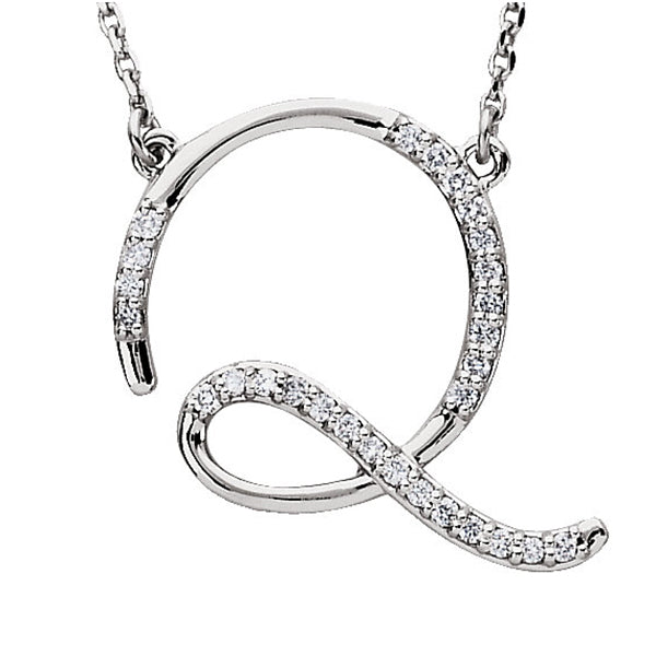 925 Sterling Silver CZ Cursive initial Charm Alphabet Pendant, 1.20 to 2 Inch Letter Q Pendant Available in Other Letters
