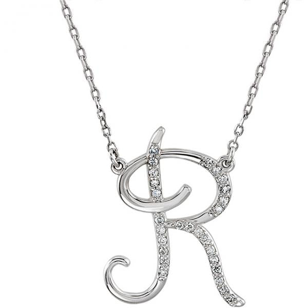 0.70 to 1 Inch Fashion 925 Sterling Silver Pendant Initial Charm Letter Cursive R Alphabet Pendant