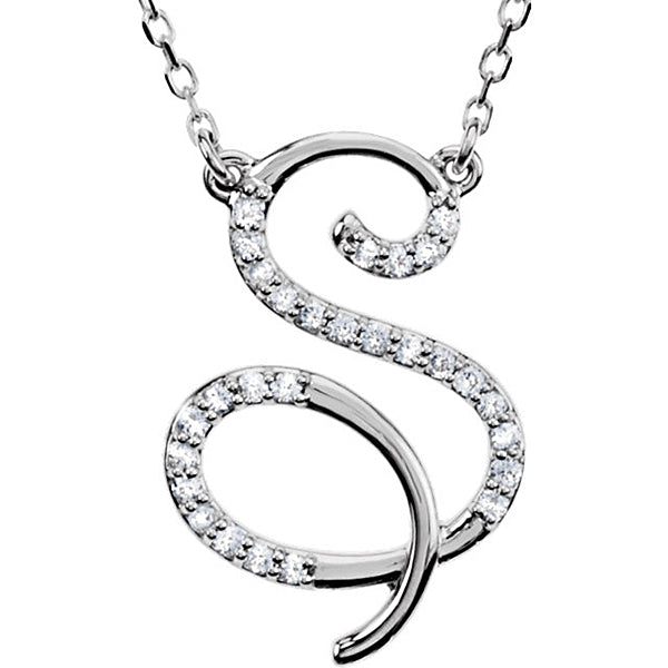 0.70 to 1 Inch 925 Sterling Silver Alphabet Letter 'S' CZ Cursive initial Charm Pendant For Men & Women