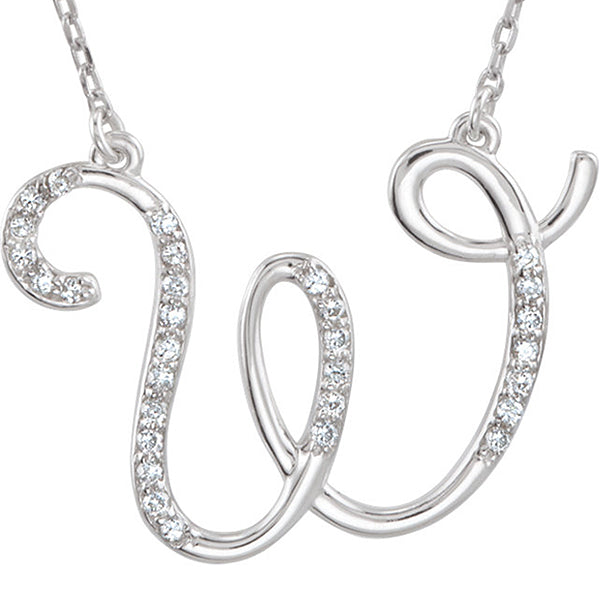 925 Sterling Silver Alphabet Letter Cursive 'W' CZ initial Charm Pendant For Men & Women 0.80 to 1.20 Inch