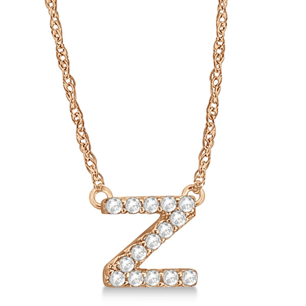 Alphabet 'Z' Letter Pendant Necklace For Men & Women 1.70 to 2 Inch Real Rose Gold Pendant