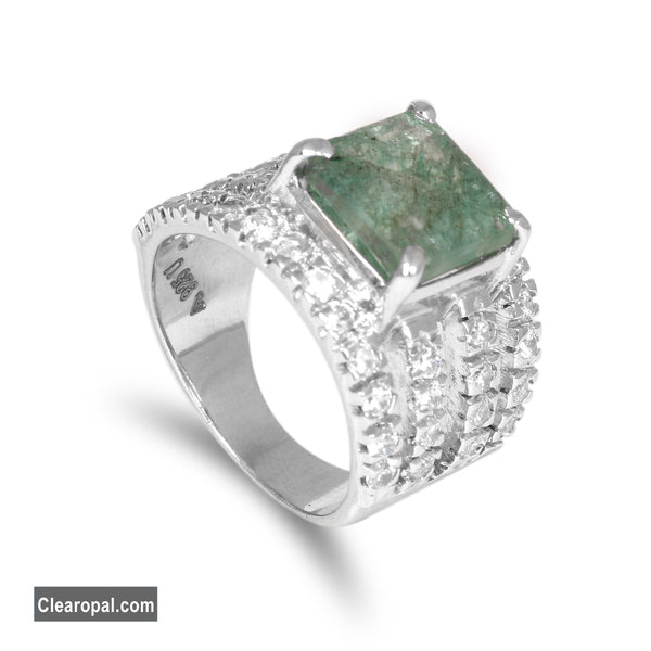 Sterling Silver Emerald Ring Jewelry for Women, Unique Dainty Wedding Bridal Ring, Available 10 To 20 Carat