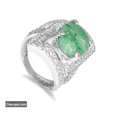 5 To 15 Carat Natural Green Emerald Ring, May Birthstone Ring, Gemstone Ring, Gift For Her, Sterling Silver Ring