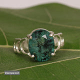 925 Sterling Silver Green Emerald Ring, Emerald Silver Ring with a Natural Emerald Gem, Available 10 to 25 Carat