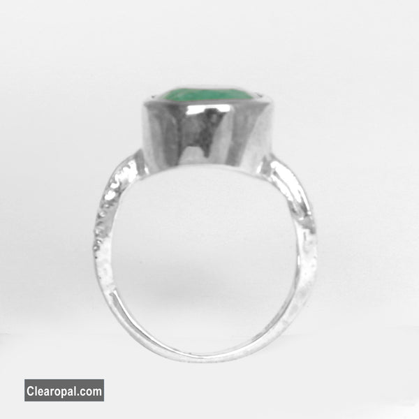 10 to 25 Carat Natural Brazilian Emerald Ring, Good Quality and Color 925 Sterling Silver Emerald Ring, Simple Emerald Ring