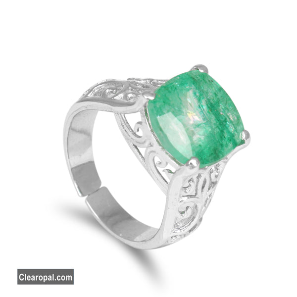 10 to 20 Carat Cushion Cut Natural Emerald Ring, Green Emerald Engagement Ring in 925 Sterling Silver