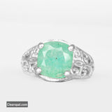 Natural Green Emerald Sterling Silver Ring, Cushion Shape May Birthstone Ring Jewelry for Women, Available 5ct To 20ct