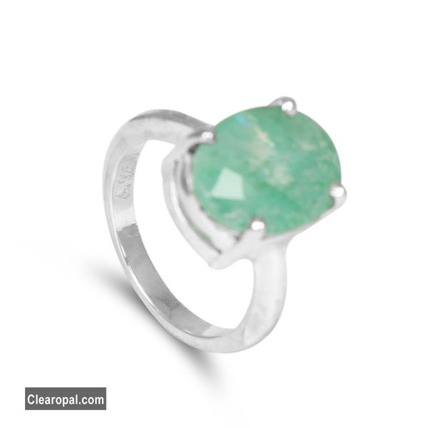 Green Emerald Sterling Silver Ring For Women, Oval Cut Natural Emerald Gem Ring, Size 5 6 7 8 9 10 and Can be Resized