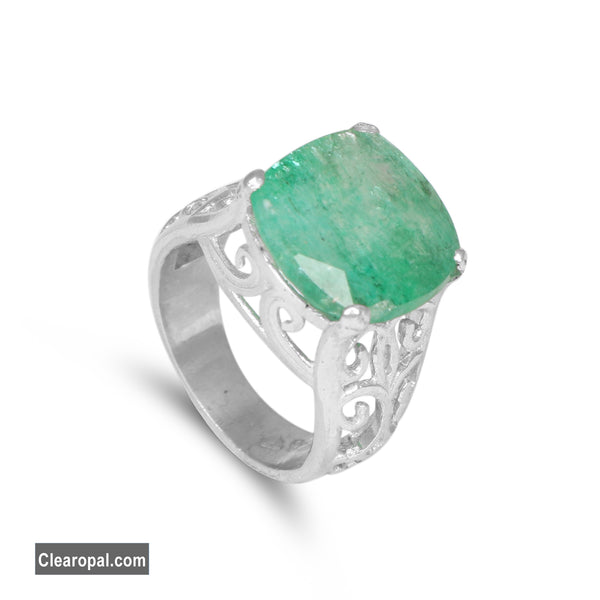 Genuine Green Emerald Sterling Silver Ring, Natural Cushion Shape Emerald Gemstone Solid Ring, 15 to 20 Carat